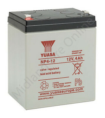 Yuasa Battery, Genuine, 12v / 4Ah Sealed Lead Acid Battery - NP4-12 FREE P&P