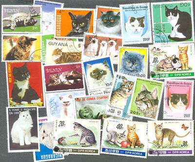 Cats on stamps 200 all different collection all types