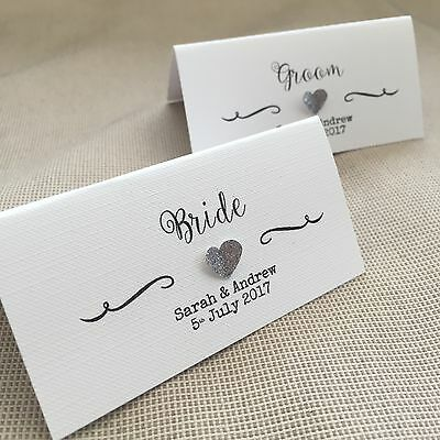 10 handmade personalised name place cards vintage 3d heart diff