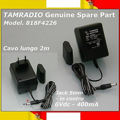 TAMRADIO™ 818F4226★ALIMENTATORE AC-DC 6V 400mA Jack 5.5mm★AC ADAPTER LONG CABLE