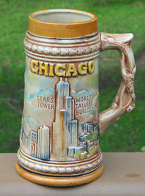 Vintage Tall Pottery Beer Stein Mug *Chicago *Majolica Style *Made in Japan