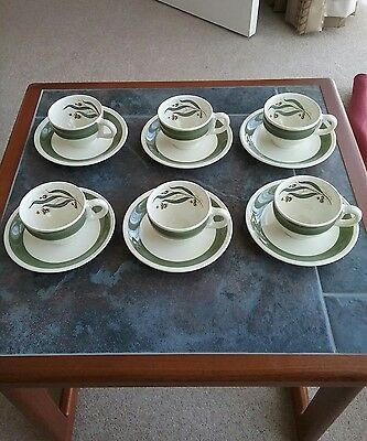 Grindley's Green Gables - 6 Expresso Coffee Cups & Saucers