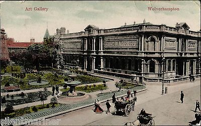 Wolverhampton, Art Gallery, old coloured postcard, posted 1913