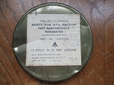 Old 1945 RAF  military 16mm cine safety film in canister undeveloped