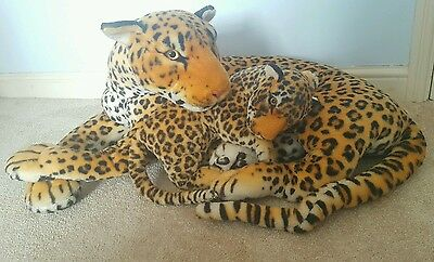 @@ Giant extra large life-sized 80cm long leopard cuddly toy with baby cub @@