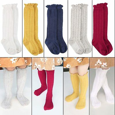 5Colors 5Pairs Cable Knit Knee High Cotton Sock Newborn Baby Girl Boy Toddler