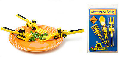 NEW Constructive Cutlery Kids Eating Set Childrens Utensils Toddler Construction
