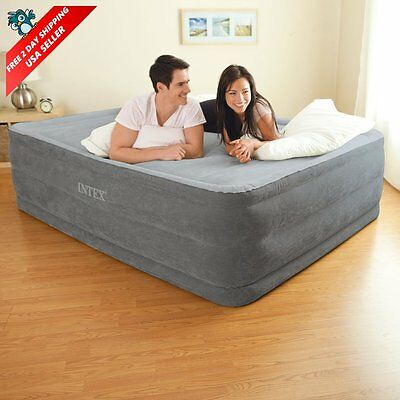 """Queen Size Comfort Air Bed Mattress 22"""" with Built-In Electric Pump Raised Guest"""