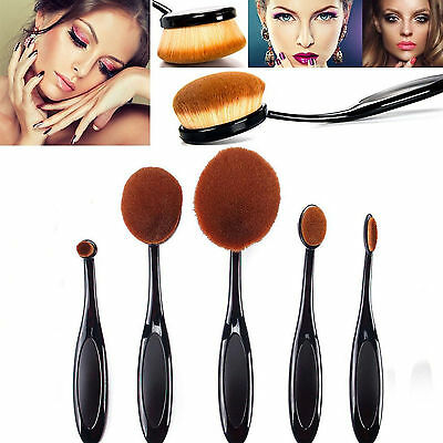 5pcs Toothbrush Shaped Foundation Power Makeup Oval BB Cream Puff Brushes Set