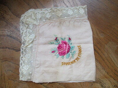 Old vintage French embriodered silk and lace handkerchief