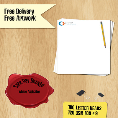 100 x 120gsm A4 Letterheads/Invoices  Full Colour