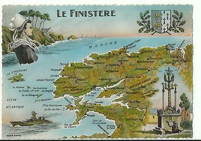 Cp 29 Le Finistere  Carte Geographique  Andre Marcy