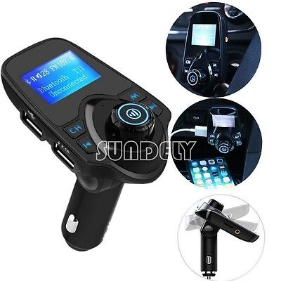 FM Transmitter LCD Bluetooth Car Kit With Dual USB Car Charger For Calling UK
