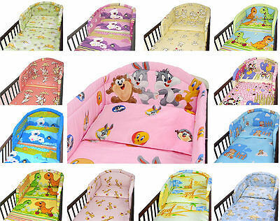 PADDED BUMPER FOR COT and COT BED NURSERY BABY BEDDING SET _UK CLEARANCE STOCK
