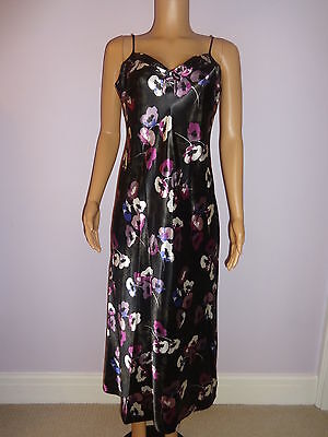 Ladies M&s Long Strappy Black Floral Satin Chemise  Nightdress 10-20