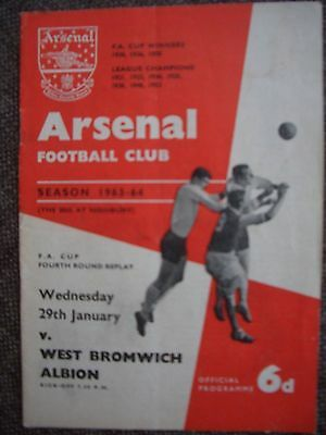 1964....ARSENAL v WEST BROMICH ALBION....F.A.Cup..4th rd....Football Programme