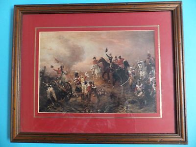 Vintage War Picture With Horses and Guns Soldiers In Battle Wooden Frame