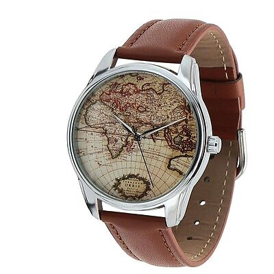 World Old Map Watch for Men's and Women's Fashion New Stainless Steel Quartz