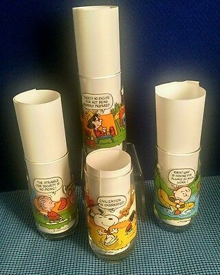 Vintage Camp Snoopy Collection 4 pc Lot Charlie Brown Lucy  Drinking Glasses
