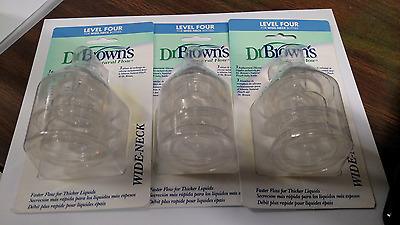 Dr Brown's Natural Flow Wide neck Level Four   9 Nipples    New