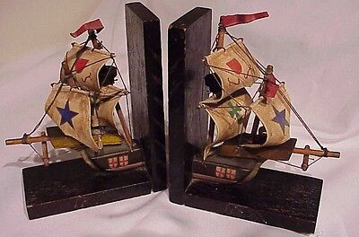 Vintage Antique Wooden Spanish Galleon Ship W/hand Painted Fabric Sails Bookends