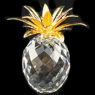 "PINEAPPLE Swarovski Crystal GOLD LEAVES 4"" tall NEW IN BOX Austria #010044"