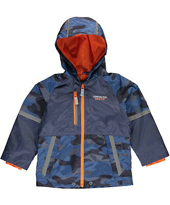 "London Fog Little Boys' Toddler ""Camo Panel"" Rain Jacket (Sizes 2T - 4T)"
