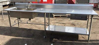 """Duke Work Table with 2 Compartment sink  120"""" wide"""
