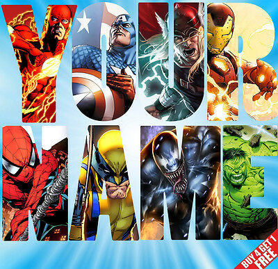 Personalised MARVEL AVENGERS Name letters Wall stickers decals (in 3 sizes) S3