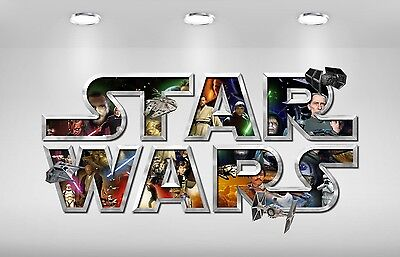 STAR WARS letter name logo wall stickers (3 sizes available & PRE-CUT)