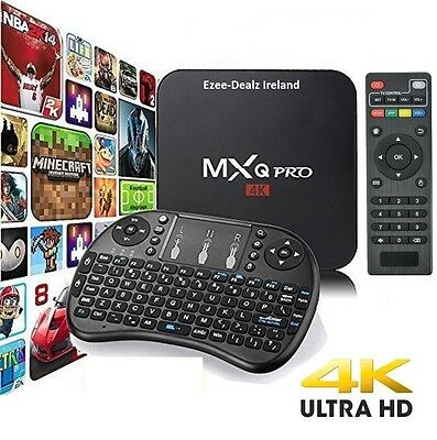 Genuine MXQ Pro 4K Android 6 Smart TV Box Quad Core With Keyboard fully setup