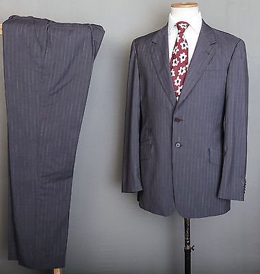 Paul Smith Tailored Fit Suit 42R 36W 34L Grey Pinstripe Wool
