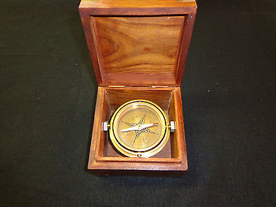 Vintage/Antique Style Old Wood Box Navigational Nautical Compass Tool
