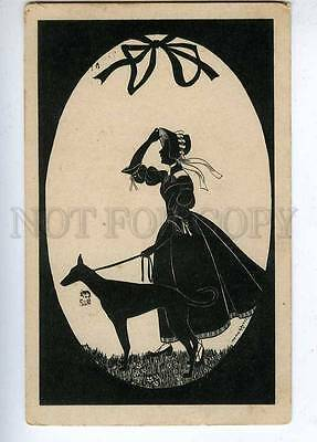 202843 ART DECO Lady GREYHOUND Egg EASTER by GROSZE Vintage
