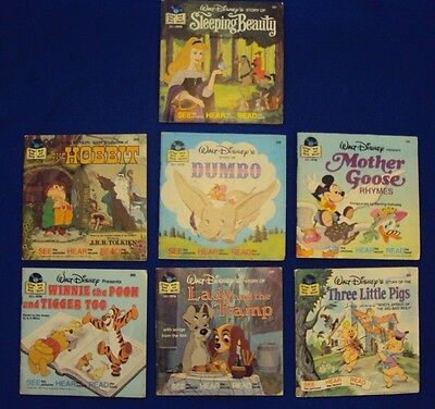 Lot of 7 Vintage Disney 33 1/3 RPM Record, See Read Hear Books