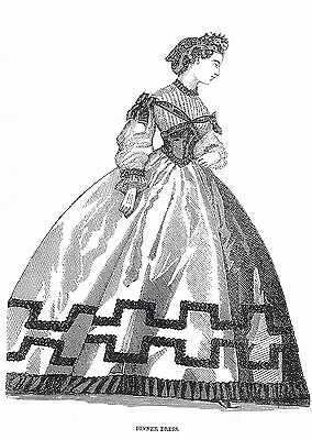 1864 Dress pattern for antique French Fashion doll size 12-16 17-18 21-22  #163