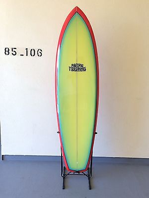 "Pacific Vibrations 6'7"" Vintage surfboard Replica G&S Morey Waterskate  New"