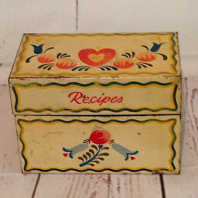 Vintage 1949 Tin Recipe Box Stanley Home File Empty Some Rust 5X4