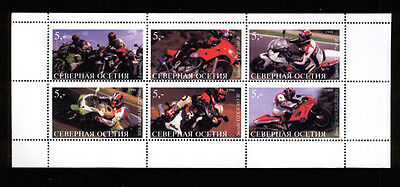 030123 Motorcycles set of 6 stamps OSETIA MNH #30123