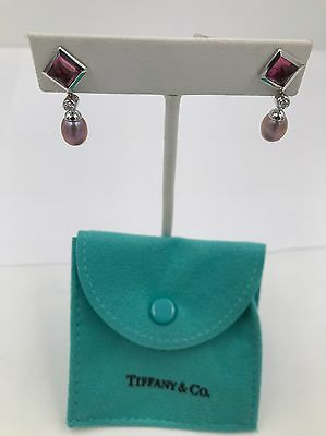 Tiffany & Co Rare 18k White Gold Earrings Tourmalines, Diamonds and Pink Pearls