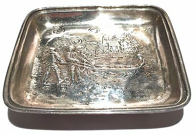 Signed Sterling Silver Vintage Repousse Figure Scene Footed Tray Dish 94 Grams
