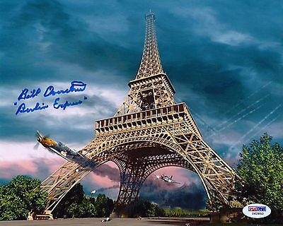 Bill Overstreet Wwii Signed 8X10 Eiffel Tower Photograph Psa/dna Autograph