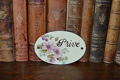 Vintage Enamel French Sign Prive Private Door Plaque