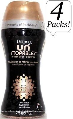 4x Downy Unstopables In-Wash Scent Booster GLOW Deodorizer 9.7 Oz Un Stopables