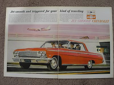 1962 Chevrolet Impala Large 2 Page Color Ad Free Shipping