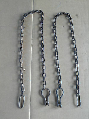 Vintage Blacksmith Made Horse Drawn Wiffle Wipple Tree Pair Trace Chains 'TCZ'