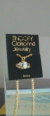 Vintage Peanuts Snoopy Laying On Heart Closionne Jewelry Aviva Necklace New