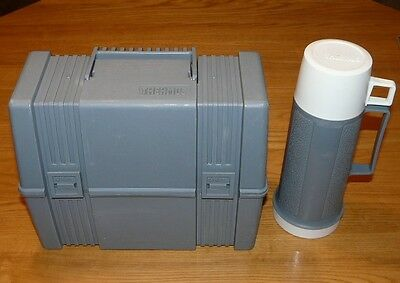 Vintage Thermos Grey Lunchbox and Bottle Glass (inside) Thermos, Made in Canada