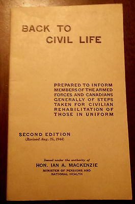"""1946 """"back To Civilian Life"""" Military Pamphlet For The Returning Soldier"""