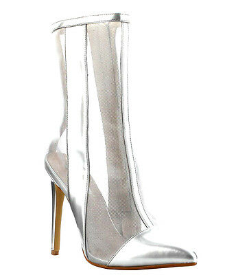 3b4a1983f3ae Cape Robbin Silver Mesh Bootie Pointy toe Heel Ankle Boots Women s shoes  Lea-5